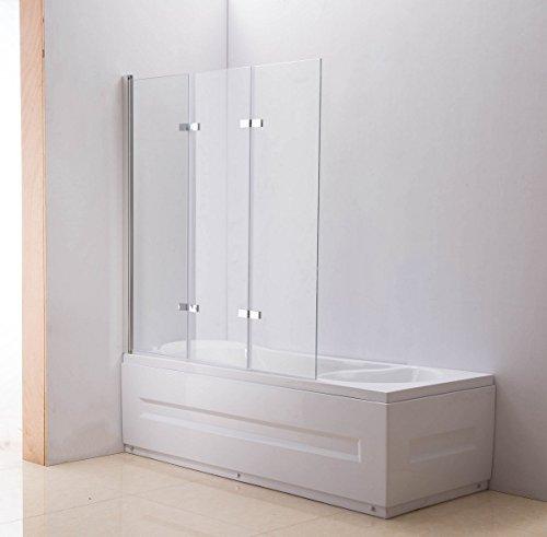 CLP Nano Duschabtrennung für die Badewanne | Faltbarer Badewannenaufsatz aus Sicherheisglas | Anschlag Links oder rechts Klarglas, Anschlag: Links