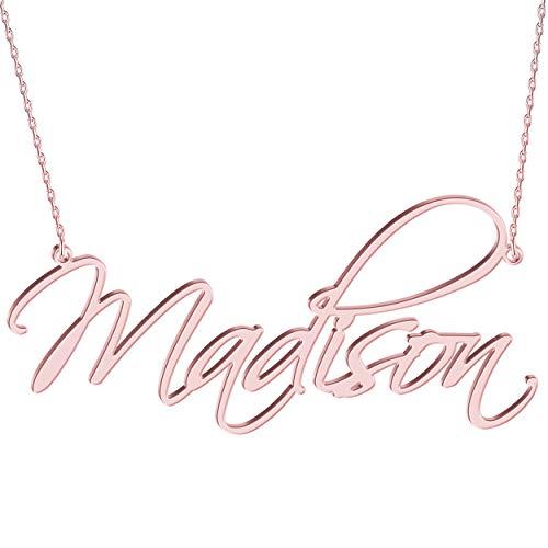 JOELLE JEWELRY Damen Namenskette Carrie Stil Kette mit Wunschnamen Personalisierte Halskette 925 Sterling Silber 14K/Rosegold vergoldet Geschenk für Mutter Freundin