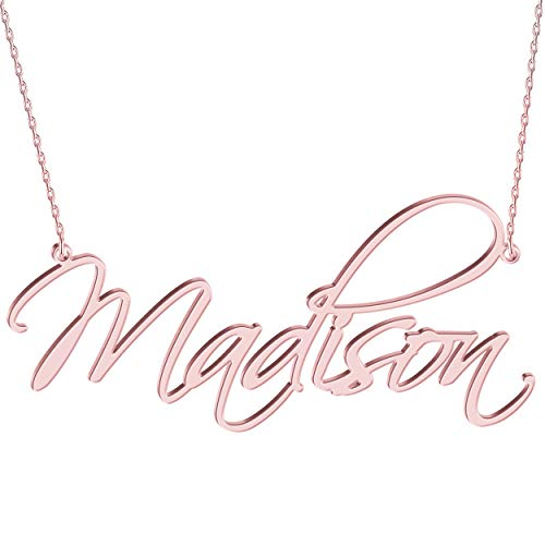 JOELLE JEWELRY Namenskette Damen Halskette mit Namen 925 Sterling Silber in Rosegold/14K Gold Fashion Schmuck für Freundin, Mutter, Schwester