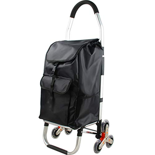 LXCS Portable Domestica Trolley, Alluminio Pieghevole Carrello, Fare la Spesa Rimorchio, Salire Le Scale Trolley Carrier - Dimensione 33x28x103cm (Color : Three Rounds)