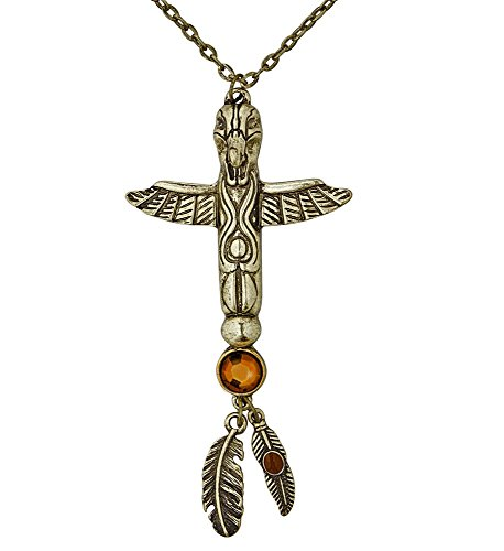 shoperama Collar con colgante de oro Totem con piedras para india y egipcia, accesorio para disfraz de mujer