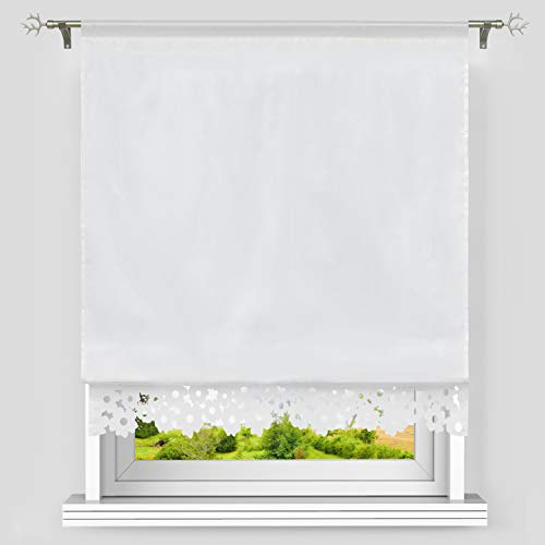Heichkell Raffrollo mit Tunnelzug Küche Raffgardine Blickdicht Bändchenrollo Hohlspitzen Gardinebordüre BxH 120x150cm Weiß#2