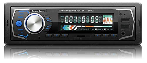 Sound Boss SB-15 Charge Pro+ Dual USB/FM/AUX/SD/Bluetooth Wireless with Phone Caller Id Receiver Universal Car Stereo (Single Din)