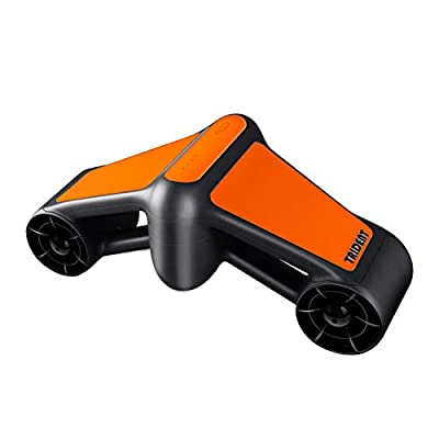 LONGTIME Water Scooter, seascooter 2-Level Speed for Snorkeling, Diving, 164ft Underwater Scooter with Go Pro Compatible. (Orange/Black)