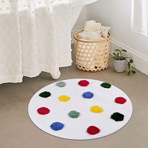 LIVEBOX Kids Bath Rug, Polka Dot Bath Mat 28inch Round Personalized Children Area Rug Soft Plush Non-Slip Carpet Bathroom Rug for Living Room Bathroom Playroom Best Shower Gift