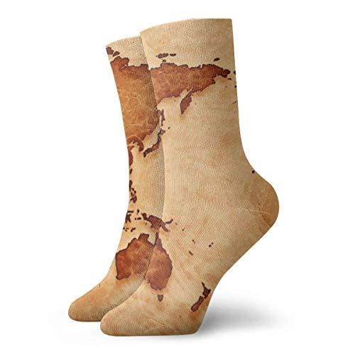 Drempad Calcetines de Vestir Unisex Retro World Map Funny Polyester Crew Socks 11.8 Inch