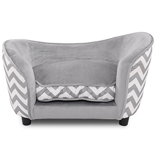 COSTWAY Pet Sofa Dog Cat Coach Bed with Cushion, Home Indoor Puppy Kitten Chair Lounge, Easy-to-Clean Pets Sofa (Grey 69 x 40 x 40cm)