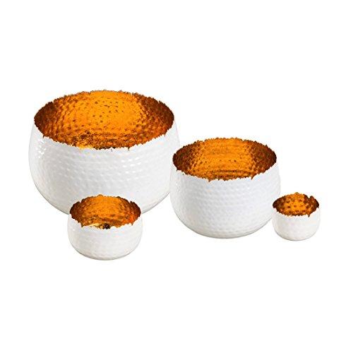 Gehlmann Sphärenlicht Rochelle - weiß/Gold - Leuchtschale - Teelichtschale - Windlicht - Metallschale - Teelichthalter (20 x 14 cm)