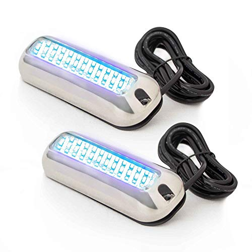 Five Oceans Marine Boat LED Underwater Transom Pontoon Lights with Stainless Steel Housing, Blue (Pair) FO-4136-M2-1