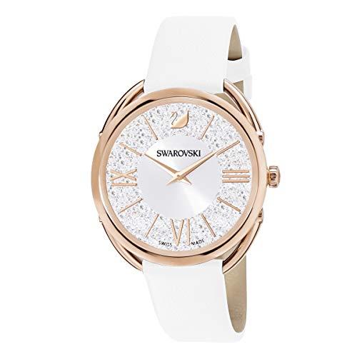 Swarovski Crystalline Glam Uhr, Damenuhr mit Rosé Vergoldetem, Funkelndem Zifferblatt mit Swarovski Kristallen und Weißem Lederarmband