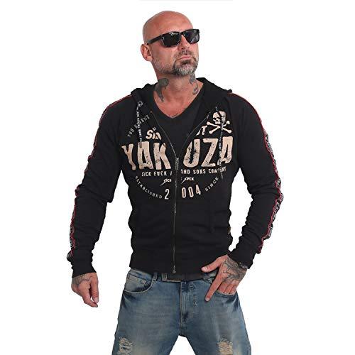 Yakuza Herren Sweatjacke Bad Side Zip Hoodie Zipper Jacke Sweatshirt Pullover mit Reißverschluss Totenkopf Print HZB 14010, Grösse:S, Farbe:Schwarz