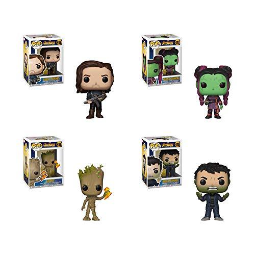 POP! Marvel: Avengers Infinity War Groot (Stormbreaker), Young Gamora, Bucky Barnes, Bruce Banner Vinyl Figures Set -  Funko, 35773-35776