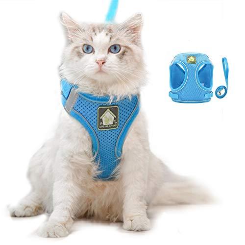 Coriver Conjunto de arnés y Correa para Gato, Chaleco para Perros Chaqueta con Correas para el Pecho Reflectante para Gatos, Resistente al Escape sin estrangulamiento para Mascotas(M,Blue)