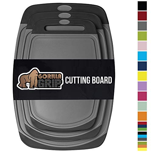 GORILLA GRIP Original Oversized Cutting Board, 3 Piece, BPA Free, Juice Grooves, Larger Thicker Boards, Easy Grip Handle, Dishwasher Safe, Non Porous, Extra Large, Kitchen, Set of 3, Gray Black