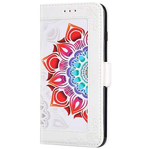 ikasus Cover Compatibile con Samsung Galaxy Note 8 Custodia Motivo Floreale Custodia a Portafoglio in Pelle PU con Cavalletto e Custodia a Libro,Bianca