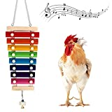 MONFINA Chicken Xylophone Toy for Hens,Suspensible Chicken Toys with 8 Metal Keys of Grinding Stone for Chicken Coop Pecking Toys