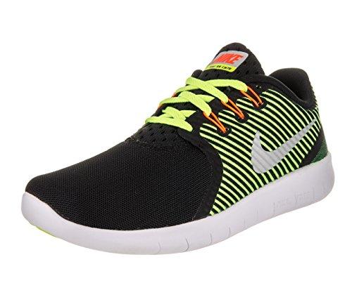 Nike Free RN CMTR (GS), Scarpe da Corsa Uomo, Nero/Argento Metallizzato/Giallo Fluo/Arancione (Total Orange), 38.5 EU