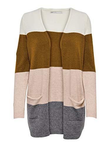 ONLY Dames Onlqueen L/S LONG CARDIGAN Noos gebreide jas, meerkleurig (Rubber Stripes: Adobe Rose/Cloud Dancer/Mgm), Large (fabrikantmaat: L)