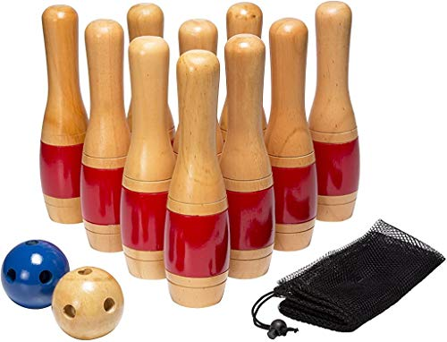 Lawn Bowling Game Skittle Ball- Indoor and Outdoor Fun for Toddlers, Kids, Adults –10 Wooden Pins, 2 Balls, and Mesh Bag Set by Hey! Play! (11 Inch)