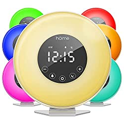 powerful HOmeLabs Sunrise Alarm Clock – Digital LED Clock with 6 Color Switch and FM Radio for Bedroom –…