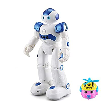 RC Remote Control Robot for Kids 3-5,Gesture Sensing Dancing Walking Smart Robot, High-Tech Artificial Intelligence Robot, Intelligent Programmable Educational Robot,Give Away Airplane Toy (Blue)