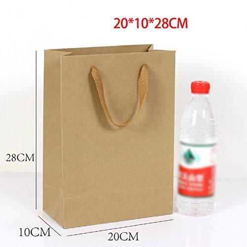 BPK - Bolsas de papel kraft para comida (30 unidades), multicolor, Papel Kraft 20x10x28cm, Kraft Pape bag