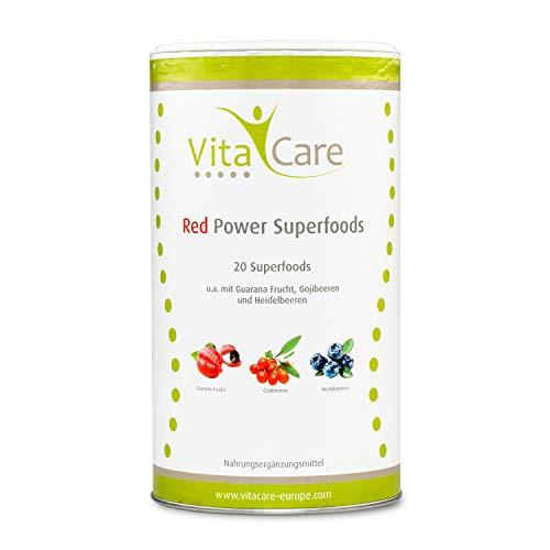 VitaCare Red Power Superfoods 360g - Zuckerfreies Superfood Pulver zum Anmischen roter Smoothies - Gluten- & laktosefrei und vegan