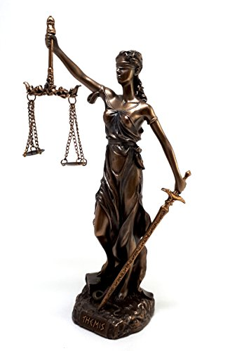 Themis Statue Greek Goddess Lady of Justice Justitia Sculpture Figure Bronze Finish 7.87 inches