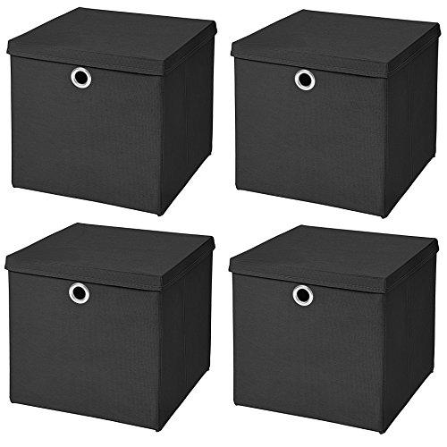 Stick&Shine 4X Aufbewahrungs Korb Schwarz Faltbox 33 x 33 x 33 cm Regalkorb faltbar mit Deckel