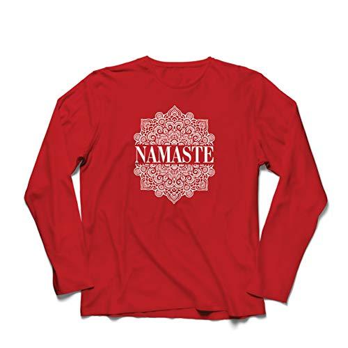 lepni.me Camiseta de Manga Larga para Hombre Meditación Yoga Namaste Mandala Zen Regalo Espiritual para Yogui (XX-Large Rojo Multicolor)