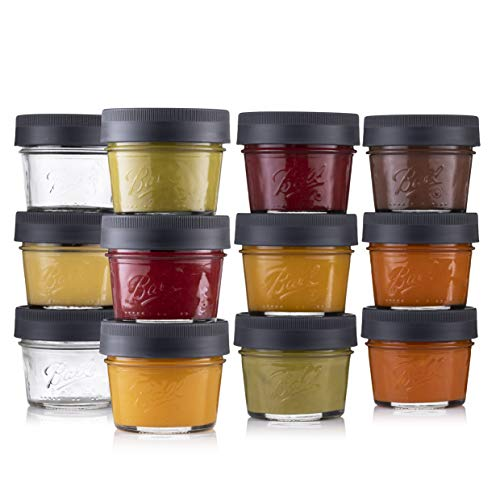 Ball Glass Baby Food Storage Containers 4 oz. [12 Pack] Small Baby Food Jars with Airtight BPA Free Plastic lids - For Baby Food, Oats, Dips/snacks, Etc. Microwave/Dishwasher Safe + SEWANTA Jar Opener