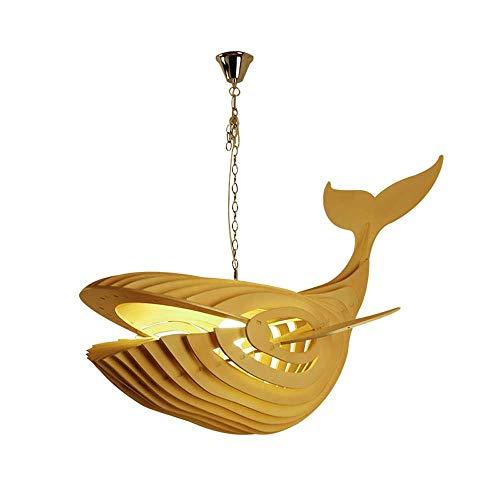 JIAXIAOYAN Colgante de madera luz de techo colgante accesorio con cable de ballena grande decorativo sombra lámpara de la lámpara suspendida, Forma ballena moderna lámpara colgante de techo simple luz