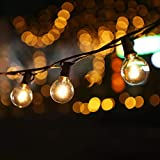 Guirnalda Luces Exterior, 7.62m G40 Guirnaldas Luminosas Jardín con 25+2 Bombillas, Cadena de Luz para Fiesta Navidad (Luz blanca cálida)