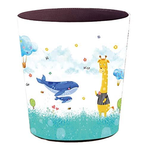 Batop Papierkorb Kinder, 10L Wasserdicht PU Leder Papierkorb Kinder Mülleimer mit Tier Motiv, Papierkorb für Kinderzimmer/Büro/Wohnzimmer (Giraffe mit Wal)