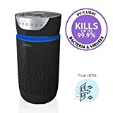 Homedics TotalClean UV Tower Air Purifier - 5-in-1 with Night Light, Carbon Odor Filter, Ionizer White (Small Room, Black)