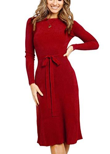 Keven Damen Feinstrickkleid Rundhals Langarm Knielang Pullover Kleid mit Gürtel Strickkleid (Rot, L)