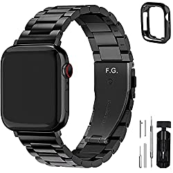 Fullmosa Compatible Apple Watch Band 42mm 44mm 38mm 40mm, Stainless Steel Metal for iWatch Series 5 4 3 2 1 Straps, 42mm 44mm Black(Watch & Case Not Included),Fullmosa,SWB-0396