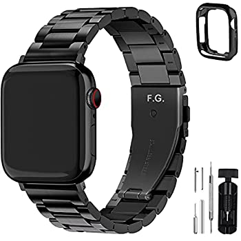 Fullmosa Compatible Apple Watch Band 42mm 44mm 38mm 40mm Stainless Steel Metal For Apple Watch Bands 42mm 44mm Black