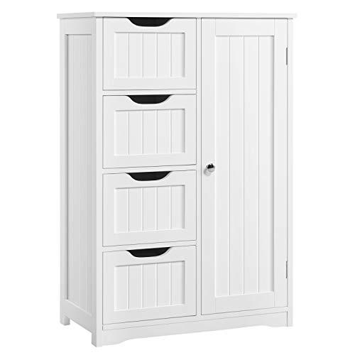 Yaheetech Badezimmerschrank, Beistellschrank Kommode mit 4 Schubladen und Schranktür, verstellbare Regalebene, Badschrank Sideboard für Wohnzimmer, Küche, Flur