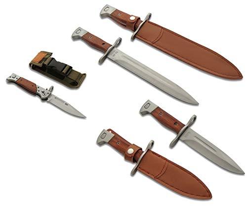 KOSxBO® Messer-Set 3er orginalgetreue Messer - Taschenmesser - Bajonett - Klappmesser - Gürtelmesser mit Scheide