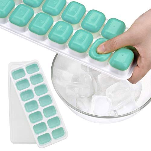 Sunerly 14-Fach Eiswürfelform Silikon Eiswuerfel Mit Deckel Ice Cube Tray, Kühl Aufbewahren, LFGB Zertifiziert FDA BPA Frei Stapelbar Eiswürfelschalen Eiswürfel Babynahrung
