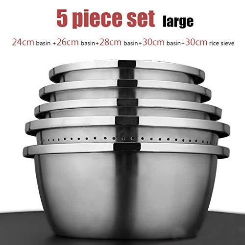 Vergiet, Colander, Zeef,5 delige set 304 Stainless Steel Rice Bassins, voedsel bekkens die kan worden verwarmd door een inductie kookplaat, grote capaciteit en gemakkelijk schoon te maken