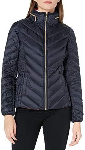Anne Klein Women s Packable Down with Hidden Hood Navy Small product image