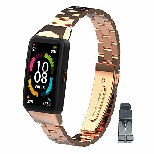 nuosiweilang Compatible con Huawei Band 6/Honor Band 6 Correa,Accesorios de Correa de Reloj de Pulsera de Repuesto Ajustable de Metal de Acero Inoxidable para Hombres y Mujeres(Oro Rosa)