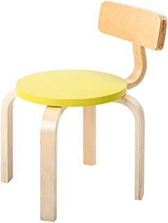 WYYY chairs Kids Solid Wood Children Chair Wooden Finished Preschool Daycare Nursery Seat Durable strong  color Yellow