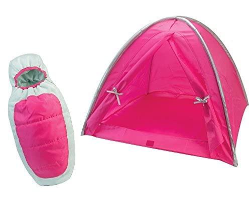 Sophia's Hot Pink Camp Set para muñecas de 18 pulgadas, incluye tienda de campaña de camping rosa caliente y saco de dormir para muñeca de plata y rosa