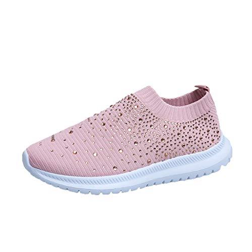 Schuhe Frauen Sommer Mode Casual Flying Woven Mesh One Pedal Einzelschuhe (37,Rosa)