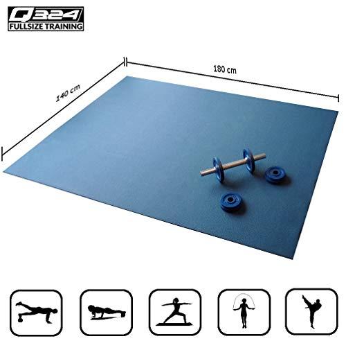 Q324 Active - die extra große Fitnessmatte I 180 x 140 cm I blau I extra robust und stabil I mit und ohne Schuhen I HIIT I Fitness I Seilspringen I Krafttraining I Gymnastik