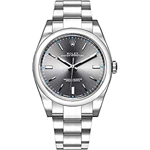 Fashion Shopping Rolex Oyster Perpetual Dark Rhodium Dial Oystersteel Men's Watch Ref. 114300