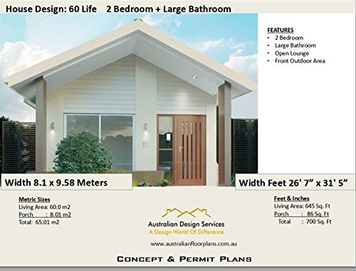 Amazon Com Unique Small House Plan 2 Bedroom House Plan 700 Sq Feet Or 65 M2 Full Architectural Concept Home Plans Includes Detailed Floor Plan And Elevation Plans 2 Bedroom House Plans Book